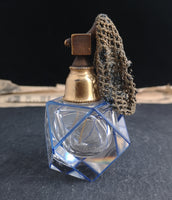 Vintage Art Deco enamelled glass scent bottle, perfume atomiser