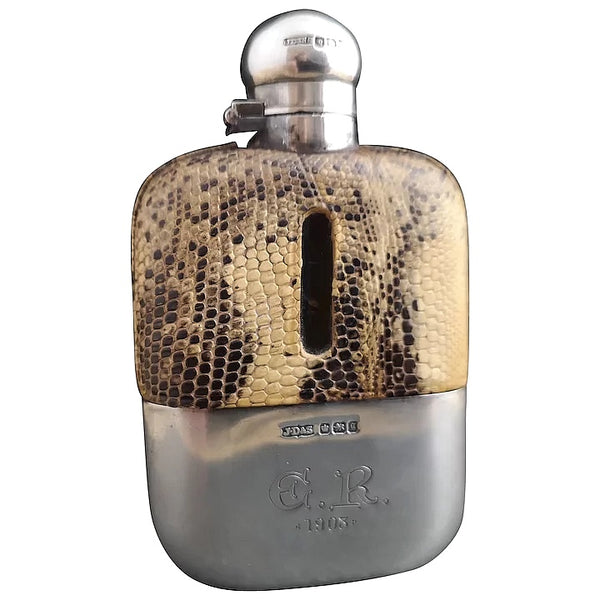 Antique silver and faux snakeskin hip flask, Victorian
