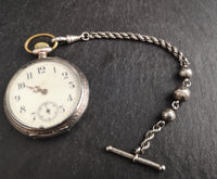 Antique Victorian silver albertina, watch chain
