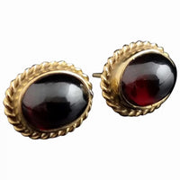 Victorian garnet cabochon earrings, 9ct gold