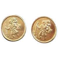 Vintage 9ct gold St Christopher earrings, studs