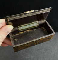 Antique Victorian snuff box, papier mache, scumble painted