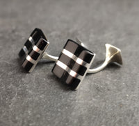 Vintage gents sterling silver and Onyx cufflinks
