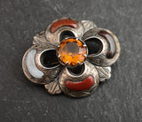 Antique Victorian Scottish silver and agate brooch