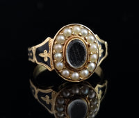 Antique mourning ring, 18ct and black enamel, pearl