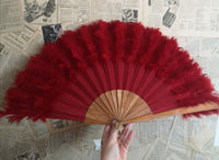 Vintage French Red feather fan