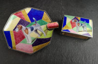 Art Deco Silver and enamel smokers set, Ashtray, Fox Terrier