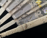 Victorian bone hand fan, painted, sequin and lace