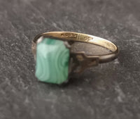 Vintage Art Deco ring, 9ct gold and silver, agate