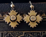 Antique Victorian diamond drop earrings, 9ct gold