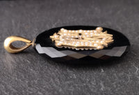 Victorian gold mourning locket, Onyx and pearl
