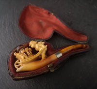 Antique meerschaum pipe, Amber, Putti