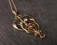 Antique Art Nouveau lavalier pendant, Amethyst, 9ct gold