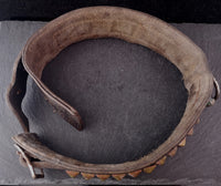 Antique Victorian dog collar, leather and brass