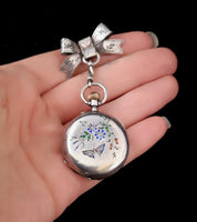 Victorian pocket watch, silver and enamel, bow brooch