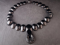 Antique Victorian Whitby jet necklace and pendant