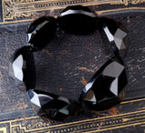Antique Victorian Whitby jet bangle, bead bracelet