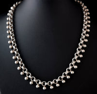 Antique Victorian silver book chain necklace