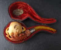 Antique meerschaum pipe, Eagle claw, Amber stem