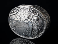 Antique Victorian silver snuff box, Stork and Fairies
