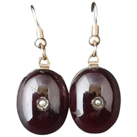 Antique Georgian Garnet cabochon earrings, 9ct gold, seed pearl