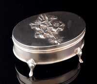 Antique silver jewellery casket, Art Nouveau box