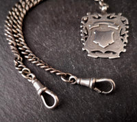 Antique silver Double Albert chain, watch chain, fob