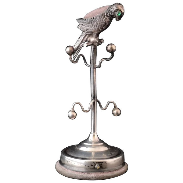 Antique silver pincushion, Parrot, Ring tree