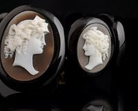 Antique Victorian Whitby Jet Cameo bracelet