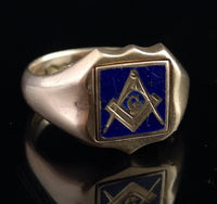 Antique Masonic Signet ring, 9ct gold