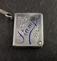Victorian silver stamp case pendant, necklace