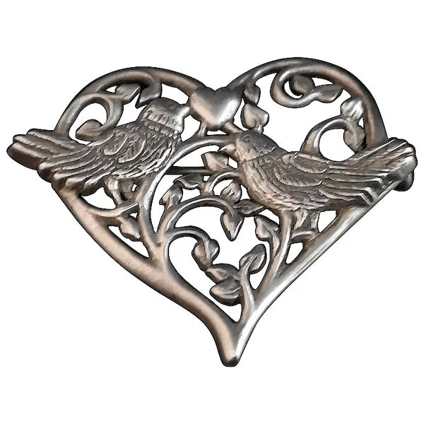 Vintage sterling silver lovebirds brooch