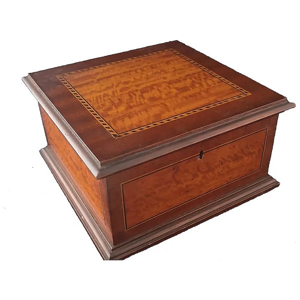 Antique Edwardian jewellery box, Mahogany and Satinwood