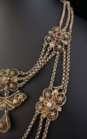 Antique French festoon necklace, garnet and pearl, silver gilt, 19th century