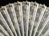 Victorian lace and silk hand fan, floral painted