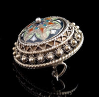 Antique Champleve enamel brooch, silver gilt