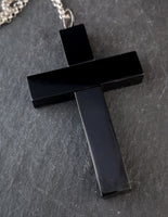 Victorian Whitby Jet cross pendant, necklace