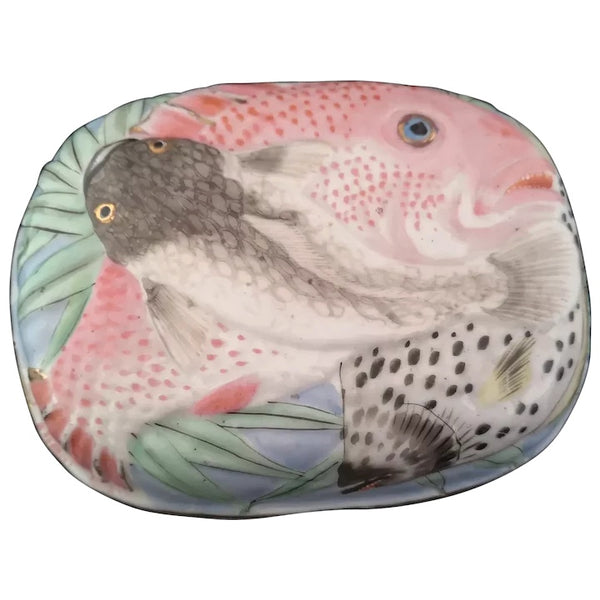 Vintage Japanese ceramic box, Fish, Koi