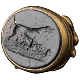 Antique Georgian seal fob, watch fob, Dog and pups