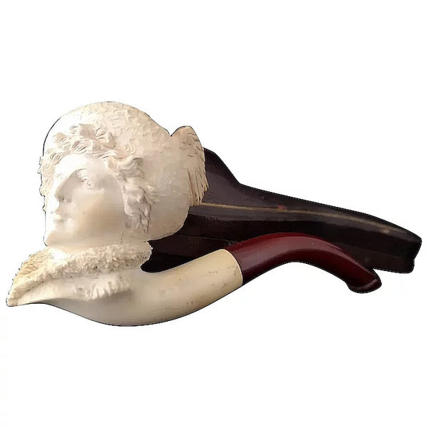 Antique Meerschaum pipe, Lady, winged hat