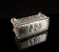 Antique sterling silver and crystal trinket pot, Art Nouveau jewellery box, Angels