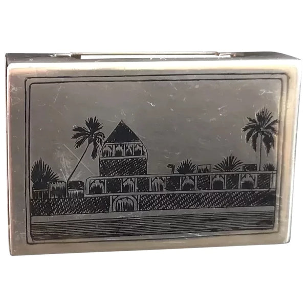 Vintage silver niello matchbox cover, match case