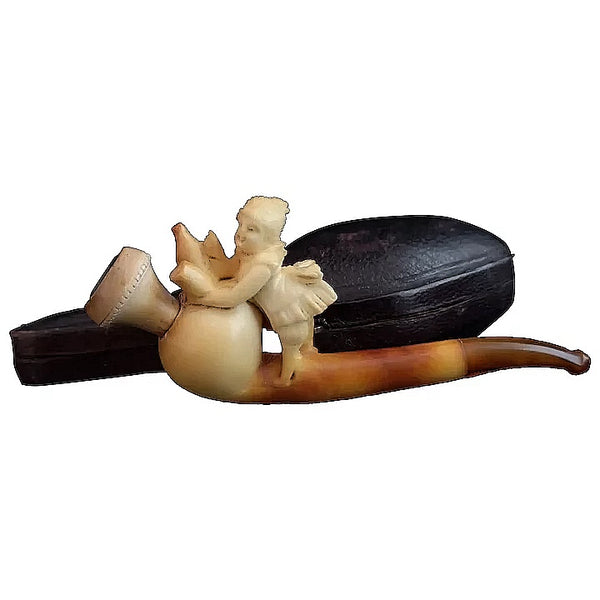 Antique meerschaum pipe, Victorian barmaid