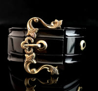 Antique Victorian whitby jet buckle bracelet, gold buckle