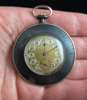Antique French pocket watch, gold and gunmetal, working