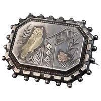 Victorian aesthetic silver brooch, gold owl and butterfly