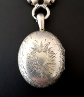 Antique Victorian silver locket, Book chain collar necklace
