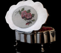 Antique silver and enamel jewellery casket, box