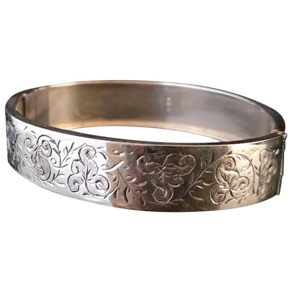 Antique Victorian silver bangle, aesthetic engraved