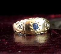 Victorian sapphire and diamond ring, 18ct gold, Gypsy set